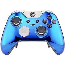 eXtremeRate® Funda Cubierta Shell superior Carcasa frontal Antideslizante para mando Xbox One Elite(cromo Azul)