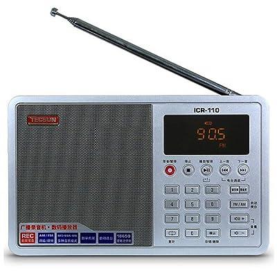 TECSUN ICR-110 FM Stereo Radio Recorder/MP3 Player (upgrade version of ICR-100) (FM 64-108) (Silver) de TECSUN