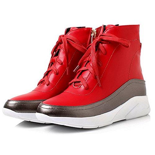 AgooLar Damen Weiches Material Reißverschluss Mittler Absatz Niedrig-Spitze Stiefel Rot