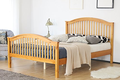 Home Source Double Bed Wooden 4ft 6 Bed Headboard High End Slatted Base Solid Wood