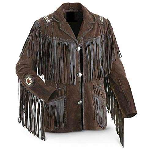 Best Mens Western Cowboy Genuine Suede Leather Jackets Fringe 28 XL -