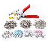 100 Set Druckknopf Druckknöpfe Open Ring SILBER/BLAU/PINK/WEISS & Zange Werkzeug DIY Basteln