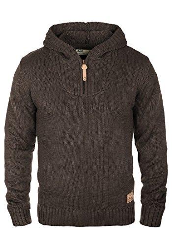 !Solid Penn Herren Winter Pullover Strickpullover Kapuzenpullover Grobstrick Pullover mit Kapuze und Reißverschluss Am Kragen, Größe:L, Farbe:Coffee Bean Melange (8973)
