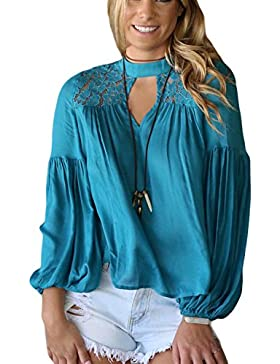 Zamtapary La Mujer Casual Long Puff Sleeve Lace Patchwork Hollow Suelto Top Blusa Camisa