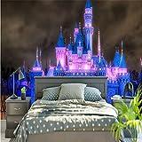 Guyuell Benutzerdefinierte Wandbild Tapete 3D Licht Nacht Szene Märchen Burg Fotowand Papier Für Wand Cartoon Kinder Schlafzimmer Hintergrund Wanddekor-200Cmx140Cm