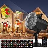 Proiettore Luci Natale Qomolo Proiettore Lampada LED 16 Diapositive con Telecomando, per Illuminazione Decorazione Interno e Esterno, Ideale per Natale Halloween Feste Compleanno Carnevale