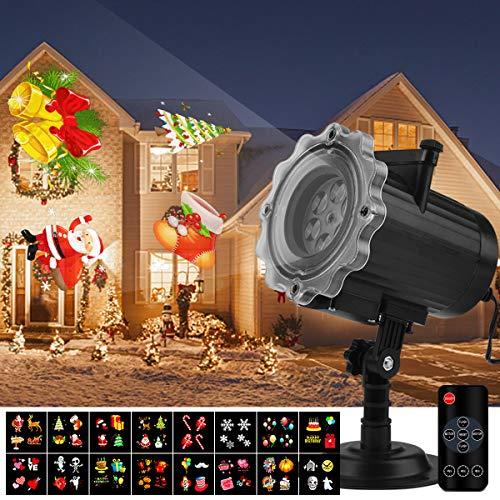 Qomolo Projektor Weihnachten LED Projektionslampe Wandbeleuchtung Wasserdichte Außenbeleuchtung mit 16 Motiven Fernbedienung für Halloween Weihnachten Ostern Geburtstag Party