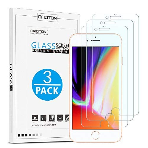 OMOTON [3 Stück] Schutzfolie kompatibel für iPhone 7/ iPhone 8, 9H Härte, Anti-Kratzen, Anti-Öl, Anti-Bläschen -