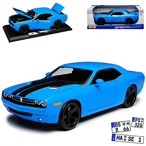 Maisto Dodge Challenger LC Coupe Tuning Hemi 6.1 Hell Blau Ab 2008 1/18 Modell Auto mit individiuellem Wunschkennzeichen