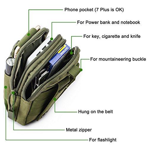 Molle Pouch Tattico Marsupio Militare Borselli da Cintura con Moschettone in Alluminio Gratis per Campeggio Outdoor Sports (Verde) Cachi