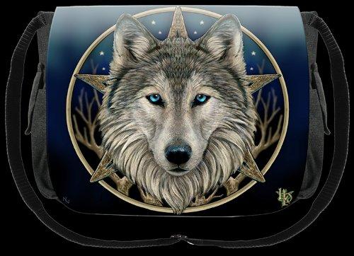 LISA PARKER NOW8151 - Borsa a tracolla, per scuola/palestra, motivo: lupo