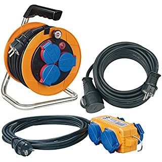 Brennenstuhl Power-Pack-Set IP44 / Kabeltrommel Baustellenset (10+5+10m Kabel - Spezialkunststoff, Baustelleneinsatz, Made In Germany) orange