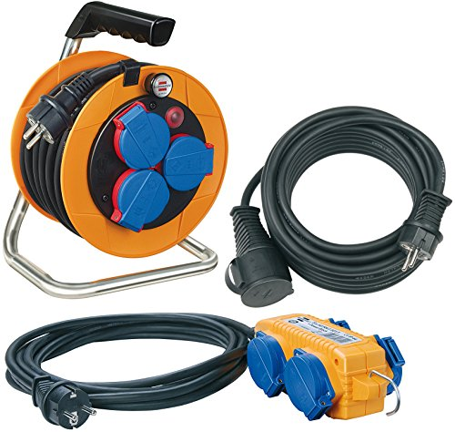 Brennenstuhl Power-Pack-Set IP44/Kabeltrommel Baustellenset (10+5+10m Kabel - Spezialkunststoff, Baustelleneinsatz, Made In Germany) orange