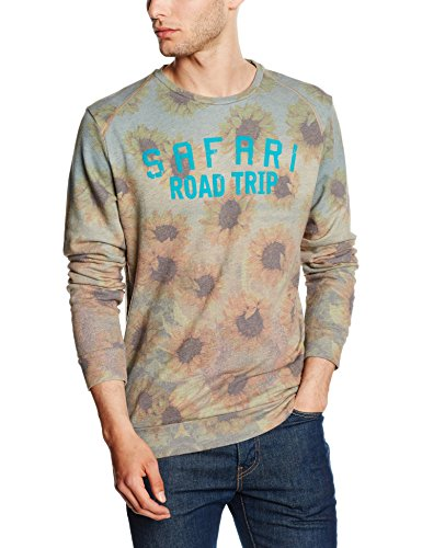 JACK & JONES Herren Sweatshirt Jorruy Sweat Crew Neck, Mehrfarbig (White Print:Safari Print Reg), Large Crew Print Sweatshirt