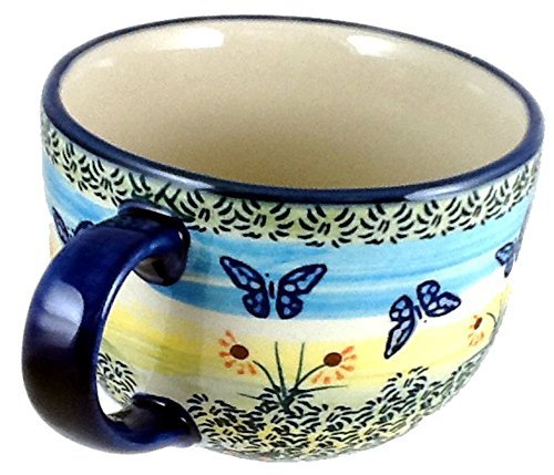 polish-pottery-16-ounce-soup-chili-or-coffee-mug-in-wkm-or-flutterby-by-poughkeepsie-polish-pottery-