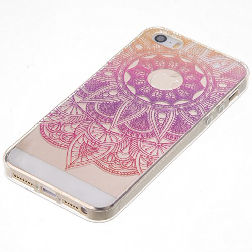 Coque iPhone SE, Étui iPhone 5S, iPhone SE/iPhone 5S Case, ikasus® Coque iPhone SE/iPhone 5S Housse TPU Fleur de gradient de couleur Silicone Étui Housse Téléphone Couverture TPU Ultra Mince Premium S Tournesol à gradient rouge violet