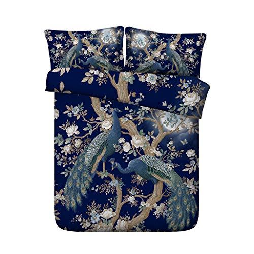 Dekorative 3-teiliges Bettwäscheset mit 2 Kissen-Shams Pfauenfedern Bettbezug-Set Tagesdecke für Kinder Teens Erwachsene Blossom Tree Branches Garden Botanical