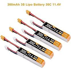 4 unids 3S Lipo batería 300mAh 30C 11.4V con XT30 Plug RC Batería para Multirotor FPV 85mm Tamaño Quadcopter