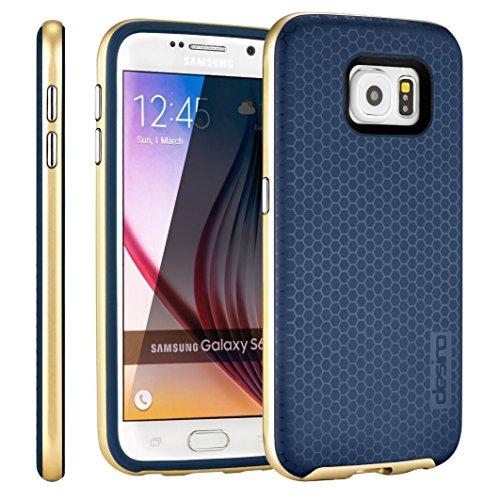 Samsung Galaxy S6 Hülle, Desiro Gold TPU Bumper Rahmen Slim Fit Schutzhülle für Samsung Galaxy S6 (Verizon, AT&T Sprint, T-Mobile, entsperrt), Marineblau