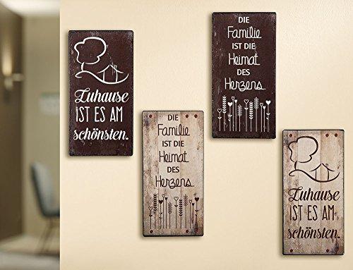 Vintage Schild aus Metall , Zuhause & Familie, Spruch: Zuhause ist es am schönsten, Maße 30 x 12 cm, Farbe braun