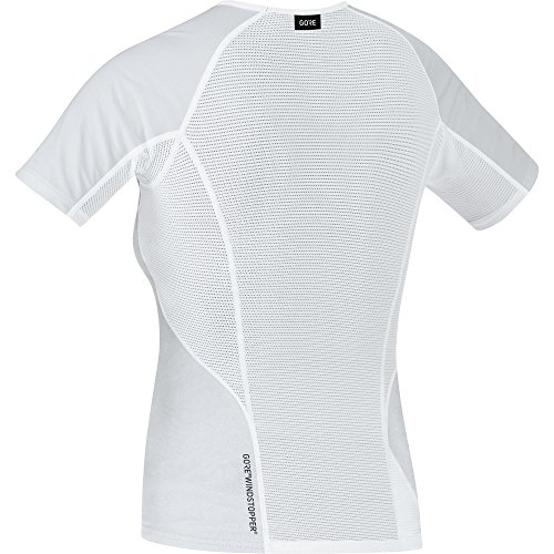 GORE Wear Winddichtes Damen Kurzarm Unterzieh-Shirt, GORE M Women WINDSTOPPER Base Layer Shirt, 100021 light grey/White
