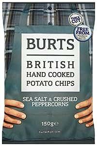 Burts Potato Chips Salt and Black Pepper 150 g (Pack of 10)