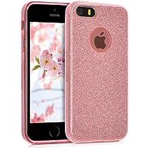 kwmobile Funda para Apple iPhone SE / 5 / 5S - Case para móvil en TPU silicona - Cover trasero Diseño Purpurina uni en rosa claro
