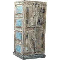 Guru Shop Kleiner Rustikaler Schrank Mit 4 Türen, Antik Weiß, Holz,