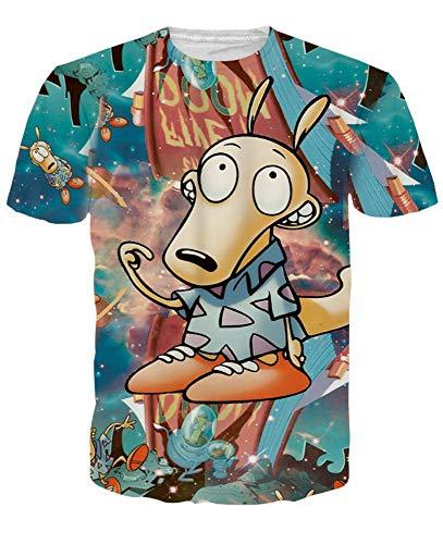 XIAOBAOZITXU T-Shirt 3D-Digitaldruck Kurze Ärmel Unisex-Paar-Kostüm Cartoon-Hund Grün Coole Lustige Lose Sportmode Großes T-Shirt L