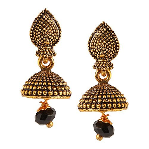 8ed519269 Efulgenz Indian Bollywood Bridal Designer Jewelry Oxidized Silver Plated  Traditional Jhumka Jhumki Earrings for Women and