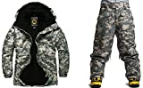 South Play Mens Wasserdichte US-Grau Military Design Ski-Snowboard-Jacke + -Hosen