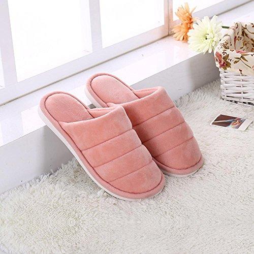 Longless Autunnali e invernali colore solido ultra-morbide in legno a casa pavimenti in piastrelle antiscivolo pantofole caldo cotone traino cotone ispessito B