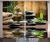 ABAKUHAUS Spa Panneaux de Rideaux, Pierres De Massage Zen Asiatique, Ensemble à Deux Panneaux à imprimé Gras, 280 x 175 cm, Noir Et Blanc Brown