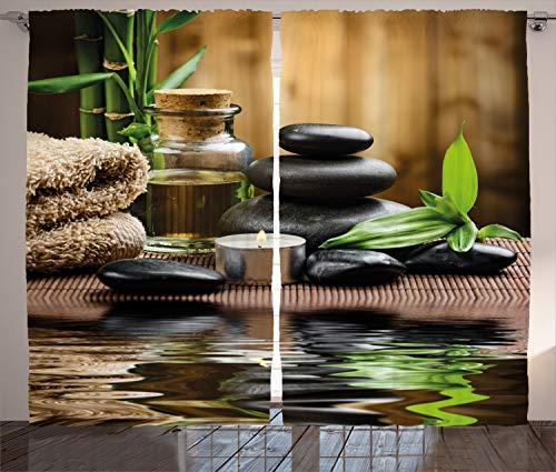 ABAKUHAUS Spa Rustikaler Gardine, Asiatische Zen-Massage-Steine, Schlafzimmer Kräuselband Vorhang mit Schlaufen und Haken, 280 x 175 cm, Weiß Schwarz und Braun (Steine Kalten Massage)