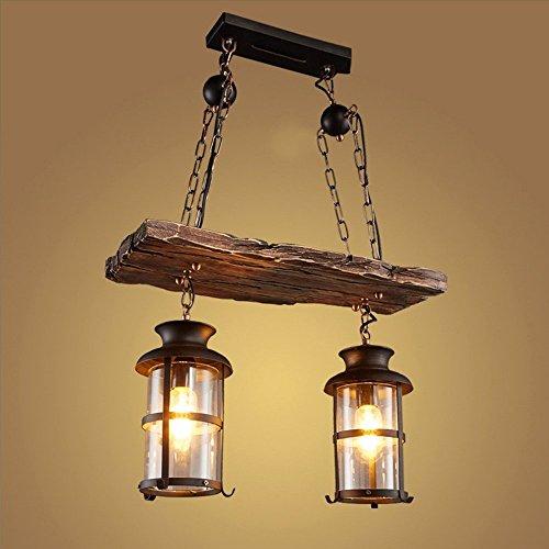 2 Köpfe Weinlese-Retro- hängende Lampe, Hansemay industrielles Kronleuchter-Eisen-hölzernes Boot-Schiffs-Beleuchtung-Befestigungs-Hauptauto-Stab-Decken-Licht (Hölzerne Lampe)