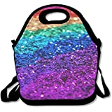Neoprene Lunch Tote - Multi-Color-Bokeh-Glitter Waterproof Reusable Cooler Bag For Men Women Adults Kids Toddler Nurses With Adjustable Shoulder Strap - Best Travel Bag