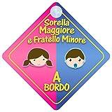 Sorella Maggiore E Fratello Minore a Bordo adesivo bimbo / bambina / neonato a bordo adesivo macchina, bimbi, bambini, famiglia