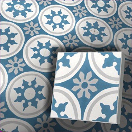 Zementfliesen Radia weiß blau (Bestelleinheit: Karton mit 10 Fliesen) (Bunte Bodenfliesen)
