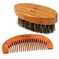 Breett Cepillo para la barba de cerdas naturales y kit de peine de madera pura  Características: - 100% cerdas, madera y bambú naturales - 100% hecho a mano, hechura perfecta - Compacto y portátil kit de peine - Dé cualquier forma que le guste a su b...