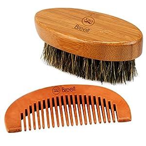 Brosse à barbe, Barbe peigne, Breett Barbe Kit d'entretien Cadeau Premium et Petit Sac de Voyage en Coton, Kit Complet Pour Homme