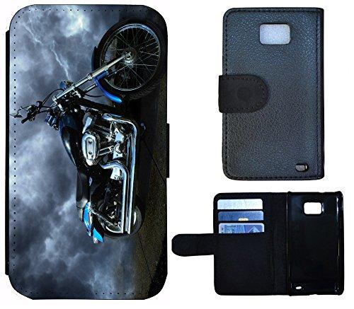 Schutz Hülle Flip Cover Handy Tasche Etui Case für (Apple iPhone 4 / 4s, 1053 Biene Cartoon Gelb Braun) 1058 Motorrad Schwarz Blau Silber