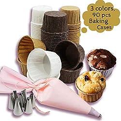 Weekend&Lifecan pirottini Muffin, pirottini di Carta per Muffin, pirottini per Cupcake, pirottini Carta per Muffin Cupcake, con Set di ugelli per tubazioni (Pack of 90)