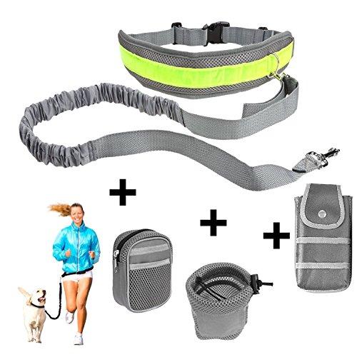 Hundeleinen Set, Poppypet Einziehbare Joggingleine, Elastische Hundeleine Hands Free Leine Zubehör für Hunde Hundeleinen Set Reflektierende Bauchgurt mit 3 Tasche Taille (Hund Zubehör)