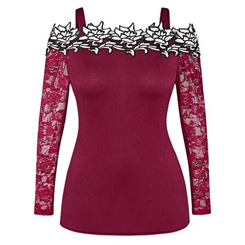 GOKOMO Damenmode Schultergeschnittenes, aufgerissenes T-Shirt mit Ärmeln. Lässige Oberteile aushöhlen Ärmel, Nagel schneiden, Durchbrochene Spitze(Wein-1,XX-Large)