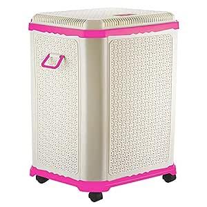 Primeway® Setag XL Multipurpose Laundry Hamper Utility Storage Basket with Lid on 4 wheels, 50 Litres, Pink