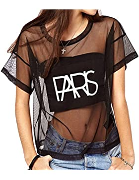 TOOGOO(R)Crop Tops Malla Ver-a traves de letra de impresion de manga corta camiseta floja de la blusa Negro L