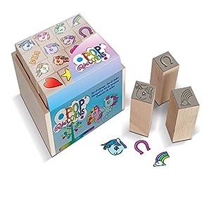 MULTIPRINT Pop Unicorns - Juegos de Sellos para niños, Caucho, Madera, 3 año(s), Italia, 70 mm, 70 mm