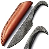 PAL 2000 Couteau Fait Main personnalisé, Couteau Lame en Acier Damas, avec Gaine en Cuir, Couteau de Chef à la Main, Couteau forgé à la Main 9379
