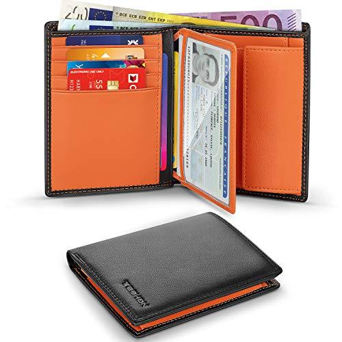 Portafoglio Uomo Slim Brifold Vera Pelle Blocco RFID, con Tasca Portamonete, 12 Porta Carte di Credito, 2 Scomparti Banconote, Finestra ID, TEEHON Verticale Portafogli - nero e arancione