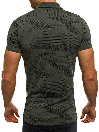 OZONEE Herren Herren Poloshirt Polohemd Polo T-Shirt Kurzarm Figurbetont ZAZZONI 1095P Grün_ZAZ-1055